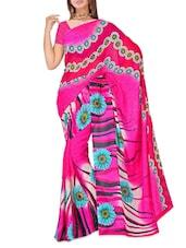Pink Printed Dani Georgette Saree - Ambaji