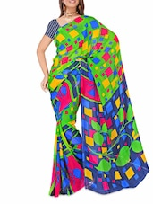 Parrot Green And Blue Printed Dani Georgette Saree - Ambaji