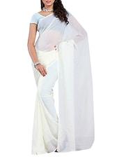 Plain White Georgette Saree - Ambaji