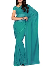 Rama Green Plain Chiffon Saree - Ambaji