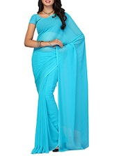 Plain Sky Blue Chiffon Saree - Ambaji