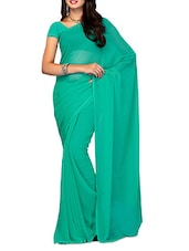 Light Green Plain Chiffon Saree - Ambaji