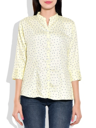 lemon yellow, blue cotton shirt
