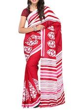 Red And White Printed Georgette Saree - Ambaji