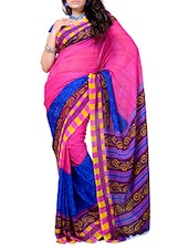 Pink & Royal Blue Printed Georgette Saree - Ambaji