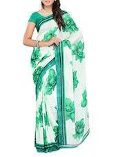 White & Green Big Floral Printed Georgette Saree - Ambaji