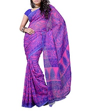 Pink & Purple Printed Georgette Saree - Ambaji