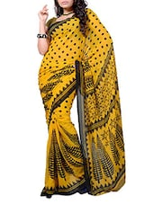 Yellow Polka Dots Printed Georgette Saree - Ambaji