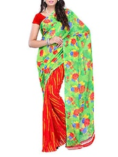 Red & Green Floral Printed Saree - Ambaji