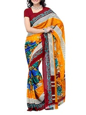 Multi Color Floral Printed Georgette Saree - Ambaji