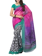 Multi Color Geometric Printed Sheer Net Saree - Ambaji