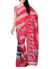 Multi Color Paisley Printed Georgette Saree - Ambaji
