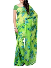 Multi Color Floral Printed Chiffon Saree - Ambaji