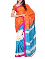 Multi Color Ethnic Printed Chiffon Saree - Ambaji