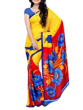 Yellow Floral Printed Georgette Saree - Ambaji