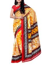 Yellow & White Printed Jacquard Saree - Ambaji