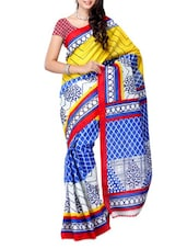 Multi Color Printed Silk Saree - Ambaji