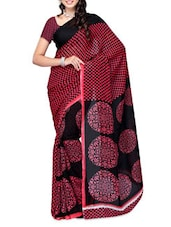 Checks Printed Red & Black Georgette Saree - Ambaji