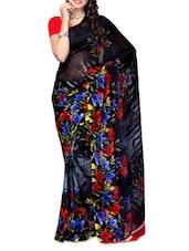 Floral Print Black Sheer Georgette Saree - Ambaji