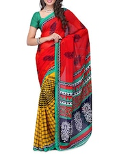 Printed Red & Yellow Georgette Saree - Ambaji