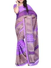 Printed Purple & Beige Georgette Saree - Ambaji