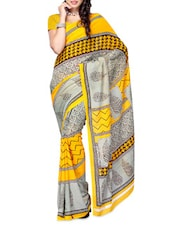 Printed Grey & Yellow Georgette Saree - Ambaji