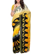 Floral Print Black & Yellow Georgette Saree - Ambaji