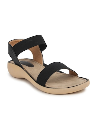 Black leatherette back strap sandal