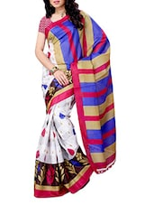 Multi Color Printed Silk Blend Saree - Ambaji