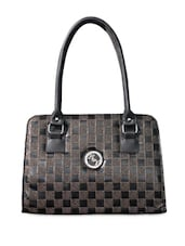 Black Check Patterned Handbag - Black & Yellow - 1007949