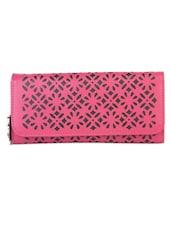 Pink Floral Pattern Cut Work Wallet - BUTTERFLIES