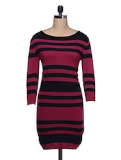 Maroon & Black Striped  Dress - Thegudlook