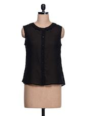 Plain Black Georgette Top - Trend 18