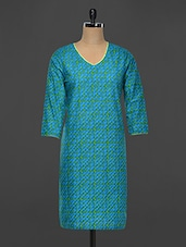 Blue Cotton Round Neck Kurti - Indidori