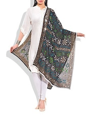 Black Poly Georgette Phulkari Dupatta - By