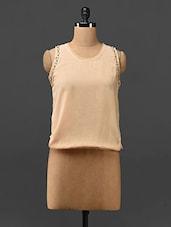 Peach Embellished Sleeveless Georgette Top - Stykin