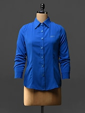 Royal Blue Full Sleeves Crepe Shirt - Stykin