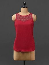 Red Lace Yoke Sleeveless Crepe Top - Stykin