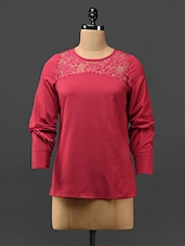 Red Lace Yoke Crepe Top - Stykin