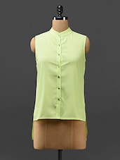 Lime Green Hi-Low Sleeveless Crepe Top - Stykin