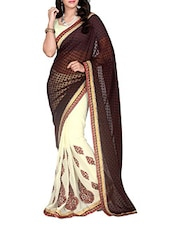 Coffee Brown And Cream Jacquard Chiffon Saree - Manvaa