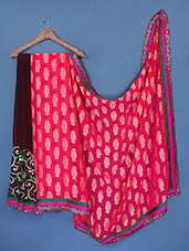Pink Bordered Brasso Pallu Saree - Manvaa