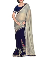 Navy Blue And Grey Chiffon Saree - Manvaa