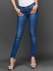 Blue Washed Denim Jeans - LESLEY
