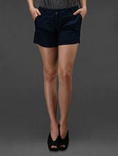 Blue Cotton Lycra  Shorts - Rider Republic