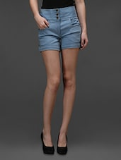 Light Blue Stretchable Denim  Shorts - Rider Republic