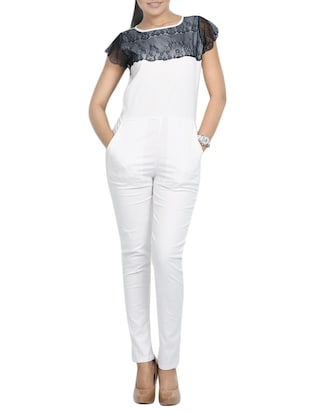white cotton full leg  jumpsuit