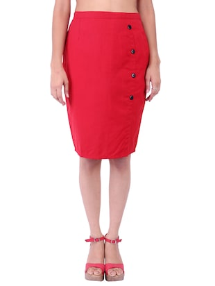 red cotton pencil  skirts
