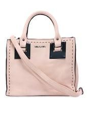 Hand Stitch Pattern Light Pink Leatherette Handbag - KIARA