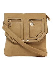 Brown Sling Bag With Patch Pocket Flap - KIARA